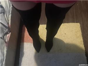 Vand cizme de piele intoarsa peste genunchi - imagine 7