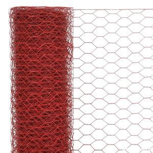 vidaXL Plasă de sârmă găini, roșu, 25 x 0,75 m, oțel cu înveliș PVC vidaXL(143301) - imagine 3