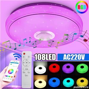 Plafoniera LED dimabila, cu boxa, telecomanda, bluetooth, RGB, 33cm - imagine 2