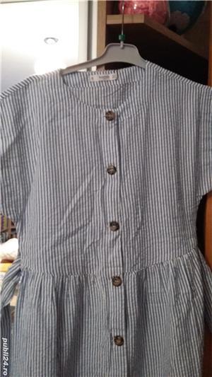 Rochie midi din bumbac de India, alb cu dungi bleu. Marime S. Sigilata. - imagine 4