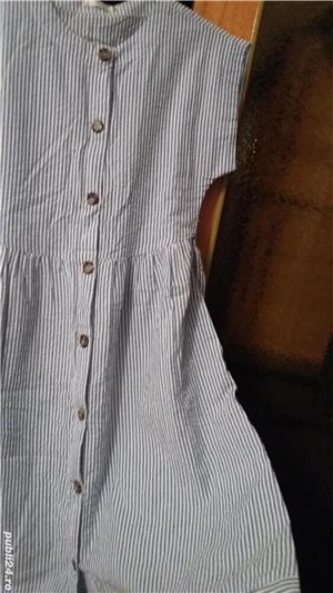 Rochie midi din bumbac de India, alb cu dungi bleu. Marime S. Sigilata. - imagine 2