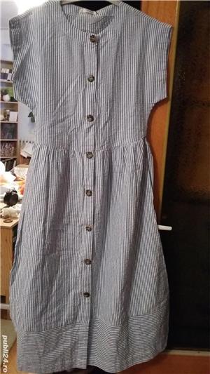 Rochie midi din bumbac de India, alb cu dungi bleu. Marime S. Sigilata. - imagine 1