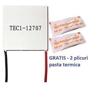 Peltier TEC1-12707 - Qmax: ( T =0) 72 W, termoelectric element dozator, celula, frigider 12v - imagine 1