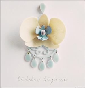 Cercel Orhidee  cu tija din argint925 - imagine 1