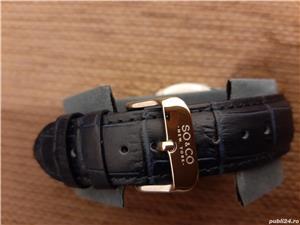 Ceas bleumarin So&Co model Madison crocodil cu sigiliu - imagine 8