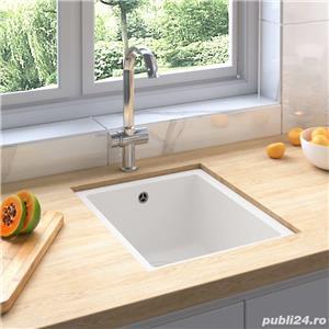 vidaXL Chiuvetă de bucătărie cu orificiu de preaplin, alb, granit vidaXL(147076) - imagine 1
