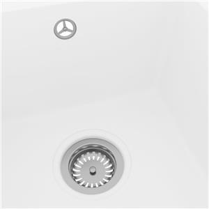 vidaXL Chiuvetă de bucătărie cu orificiu de preaplin, alb, granit vidaXL(147076) - imagine 2
