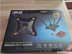 Vand placa de retea PCIe wireless WiFi Asus AC3100 AC88 noua sigilata - imagine 1