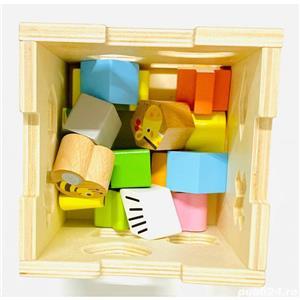 Jucarie Cub sortator Montessori 2 in 1 cu Animale   15 piese - imagine 3