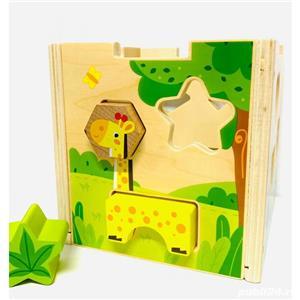 Jucarie Cub sortator Montessori 2 in 1 cu Animale   15 piese - imagine 4