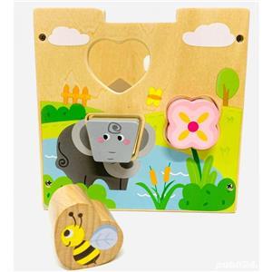 Jucarie Cub sortator Montessori 2 in 1 cu Animale   15 piese - imagine 5