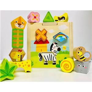 Jucarie Cub sortator Montessori 2 in 1 cu Animale   15 piese - imagine 2