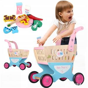 Jucarie copii Carucior pentru cumparaturi din lemn cu accesorii - imagine 2