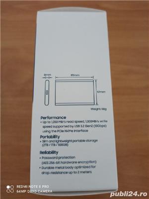 SSD Extern Samsung T7 Portabil 1TB Nou-Sigilat! Fab:2020 - imagine 3