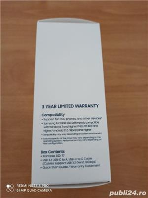 SSD Extern Samsung T7 Portabil 1TB Nou-Sigilat! Fab:2020 - imagine 4