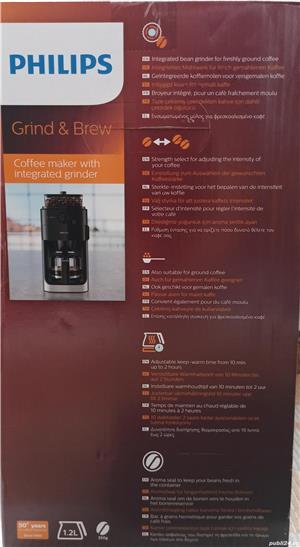 Cafetiera Philips Gring & Brew HD 7767/00, 1000 W, 1.2 l, 12 cesti, Negru - imagine 2