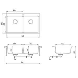 Chiuvetă de bucătărie din granit încastrată, cu două cuve, alb crem vidaXL(141677) - imagine 3