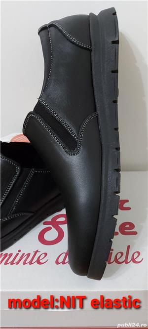 pantofi barbati model nit șiret și elastic piele naturala 100%  - imagine 6