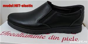 pantofi barbati model nit șiret și elastic piele naturala 100%  - imagine 4