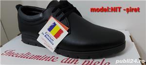 pantofi barbati model nit șiret și elastic piele naturala 100%  - imagine 3
