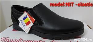pantofi barbati model nit șiret și elastic piele naturala 100%  - imagine 2