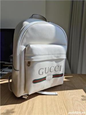 Backpack Gucci White Print,  alb, nou, original 100% - imagine 1