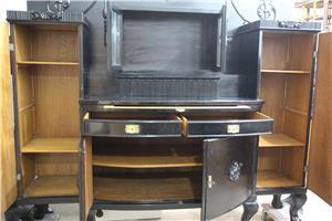 Bufet vintage Stil Florentin; Vitrina lemn cu usi si sertare; Dulap - imagine 2