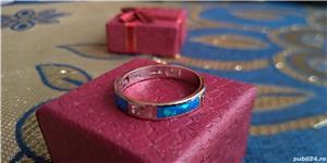 Inel argint 925 cu opal albastru - imagine 2