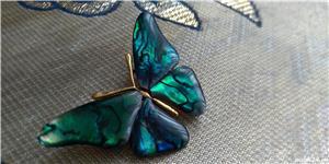 Brosa fluture din mother pearl verde-albastru - imagine 4