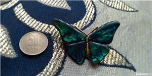 Brosa fluture din mother pearl verde-albastru - imagine 2
