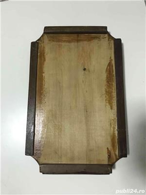 tava lemn sculptata manual vintage - imagine 3