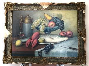 Pictura pe panza, un peste pe un platou, de Victor Stupariu - imagine 1