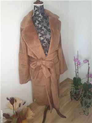 Palton din blana ecologica,  nou cu eticheta , Zara marimea L - imagine 3