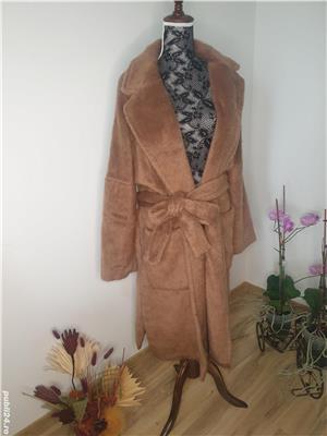 Palton din blana ecologica,  nou cu eticheta , Zara marimea L - imagine 1