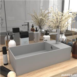 vidaXL Chiuvetă de baie cu preaplin, gri deschis, ceramică vidaXL(146993) - imagine 1