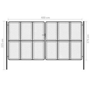 vidaXL Poartă de grădină, antracit, 400 x 175 cm, oțel vidaXL(144436) - imagine 5