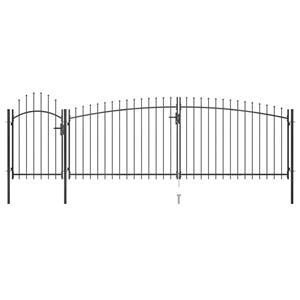 vidaXL Poartă gard pentru grădină cu vârf suliță, negru, 5 x 2 m vidaXL(146324) - imagine 1