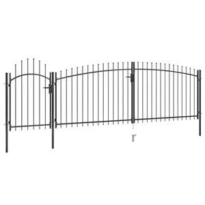 vidaXL Poartă gard pentru grădină cu vârf suliță, negru, 5 x 2 m vidaXL(146324) - imagine 2