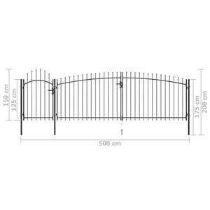 vidaXL Poartă gard pentru grădină cu vârf suliță, negru, 5 x 2 m vidaXL(146324) - imagine 5