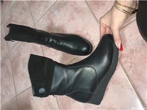Vand cizme dama piele+piele intoarsa,noi, negre, masura 36 - imagine 1
