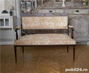 Salon vechi din lemn, stil Empire, reconditionat(Canapea/Scaune/Mobila) - imagine 3