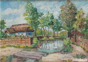 Tablou Peisaj Bucovinean cu Casa pictura ulei în cutit inramat 45x60cm - imagine 2