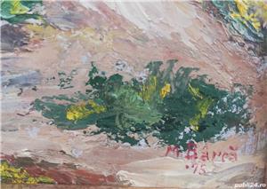 Tablou Peisaj Bucovinean cu Casa pictura ulei în cutit inramat 45x60cm - imagine 3
