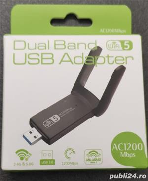 Adaptor wifi dualband cu antenă - placa de retea wireless cu CD driver 1200Mbps - imagine 6
