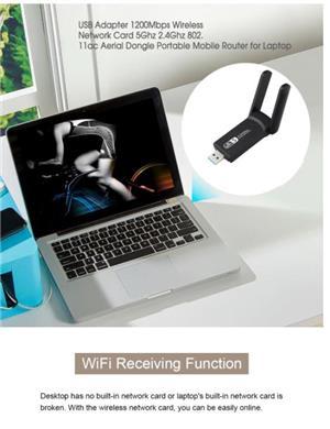 Adaptor wifi dualband cu antenă - placa de retea wireless cu CD driver 1200Mbps - imagine 4