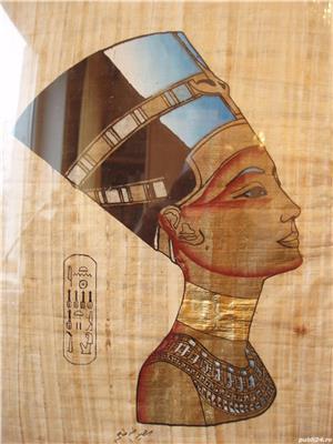 PAPIRUS EGIPTEAN - NEFERTITI , IN RAMA DE LEMN TIP IKEA - imagine 3