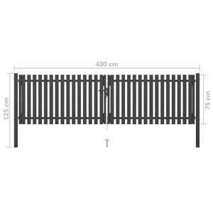 vidaXL Poartă de gard grădină, antracit, 4 x 1,25 m, oțel vidaXL(146333) - imagine 5