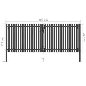 vidaXL Poartă de gard grădină, antracit, 4 x 1,75 m, oțel vidaXL(146335) - imagine 5