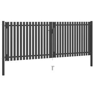 vidaXL Poartă de gard grădină, antracit, 4 x 1,75 m, oțel vidaXL(146335) - imagine 2