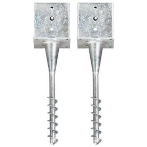 vidaXL Țăruși de sol, 2 buc., argintiu, 14x14x58 cm, oțel galvanizat vidaXL(145445) - imagine 1